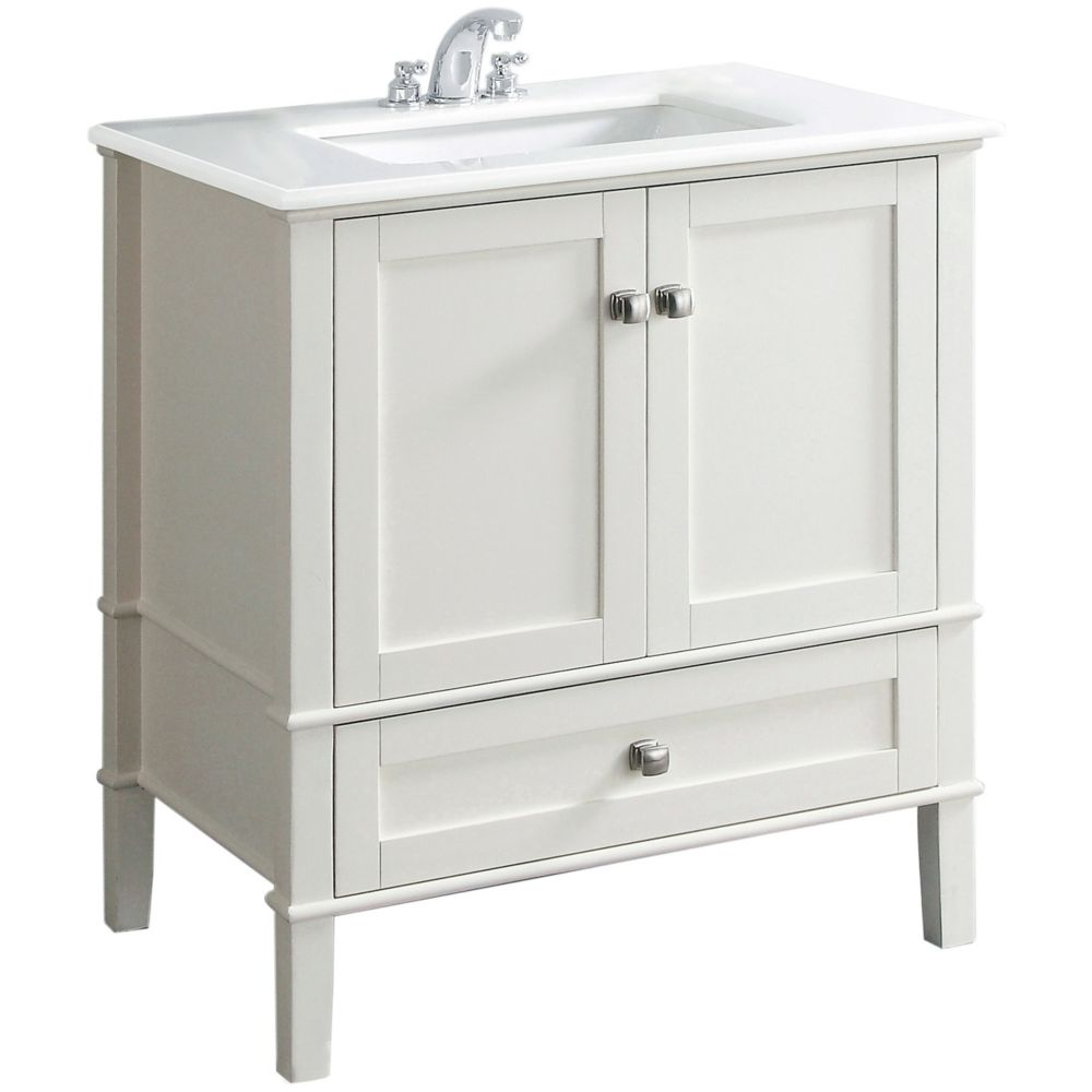 Chelsea 30-inch W Vanity in White Finish with Quartz Marble Top