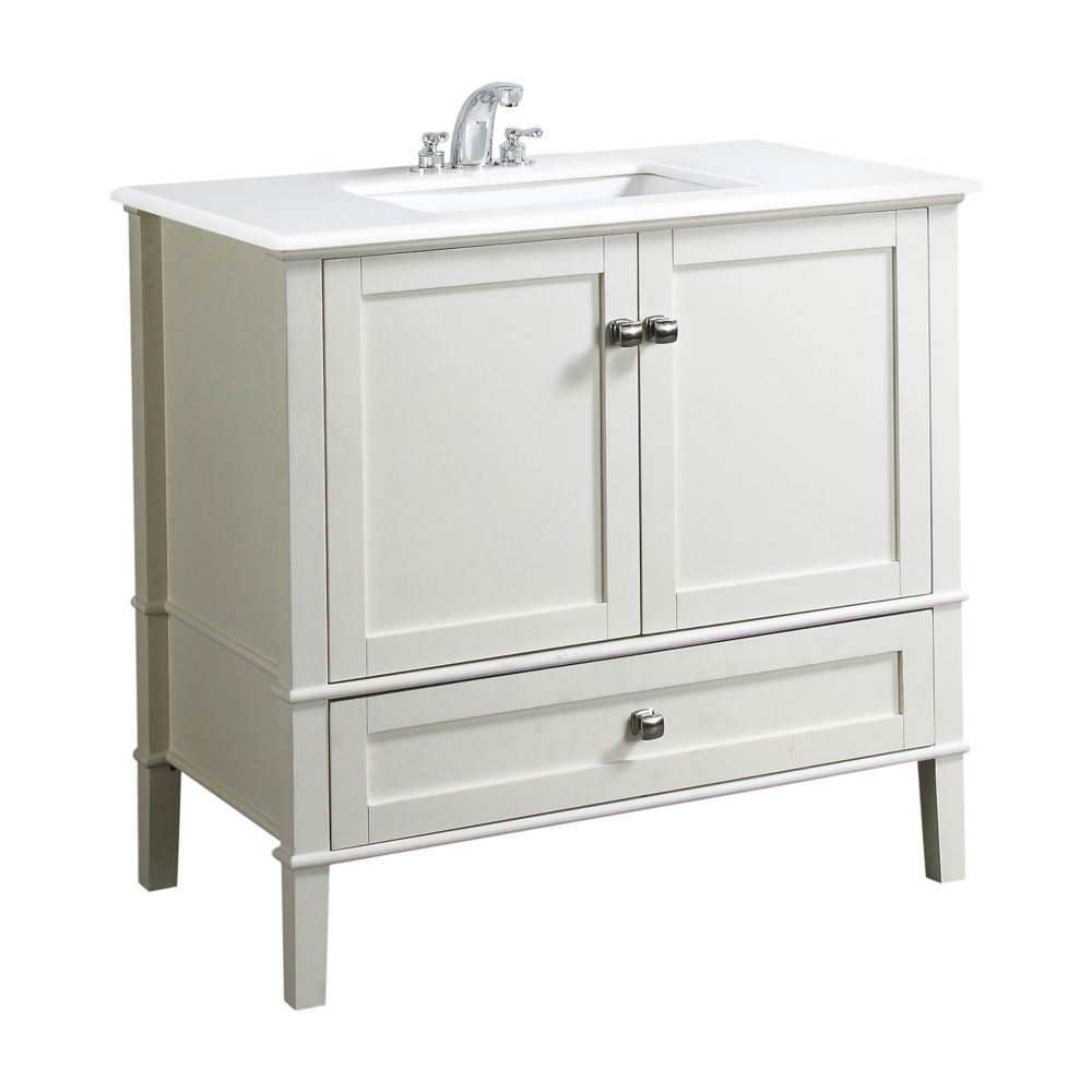 Simpli Home Chelsea 36 Inch Vanity In Soft White With Quartz Marble Top In White Under Mount