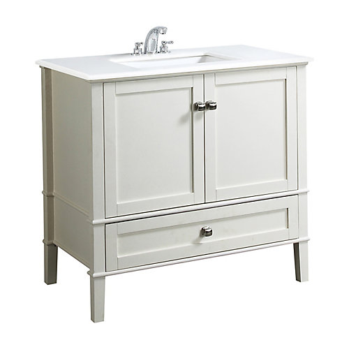 Chelsea 36-inch Vanity in Soft White with Quartz Marble Top in White & Under-Mount Rectangular Sink