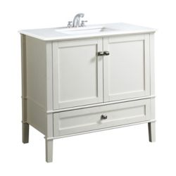 Simpli Home Chelsea 36-inch Vanity in Soft White with Quartz Marble Top in White & Under-Mount Rectangular Sink