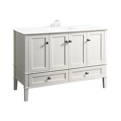 Chelsea 49-inch W 2-Drawer 4-Door Freestanding Vanity in White With Quartz Top in White