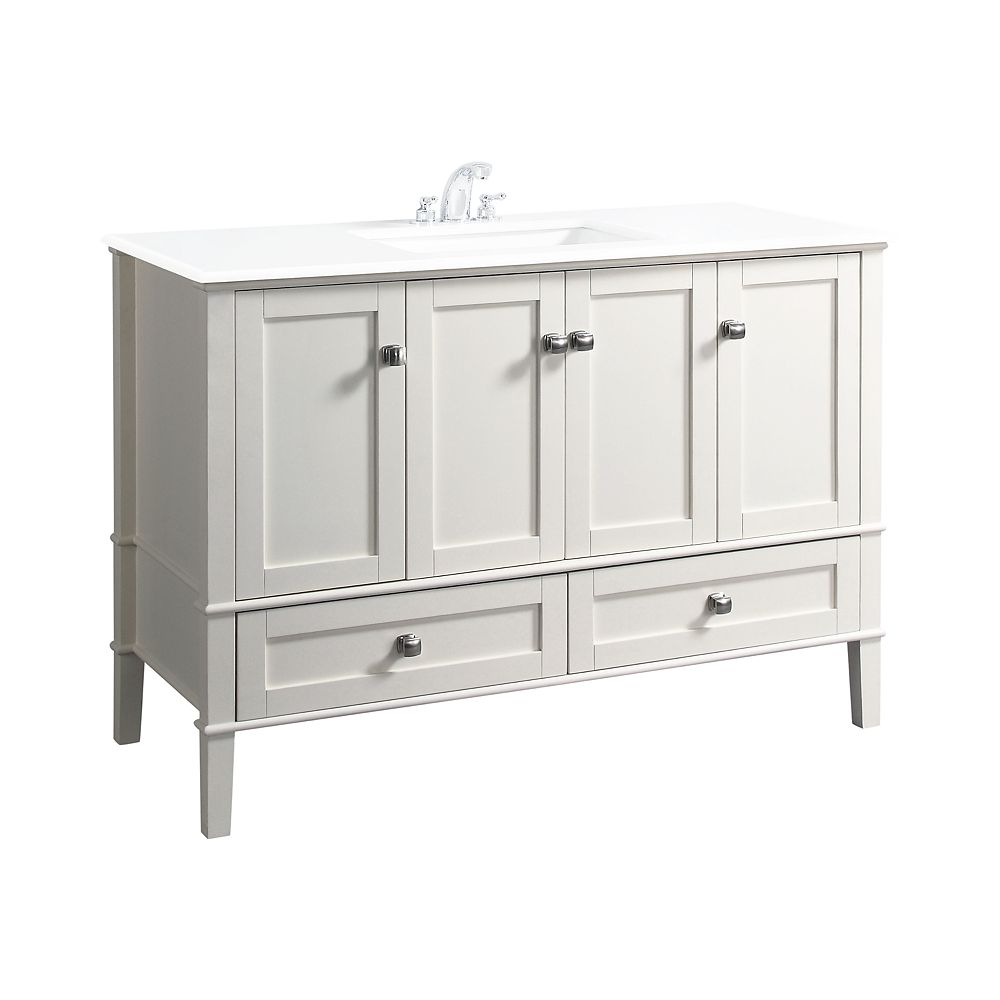 Simpli Home Chelsea 49-inch W 2-Drawer 4-Door Freestanding Vanity in White With Quartz Top in White