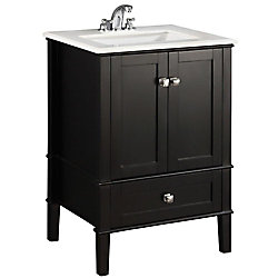 Chelsea 24-inch Vanity in Black with Quartz Marble Top in White and Under-Mounted Rectangular Sink