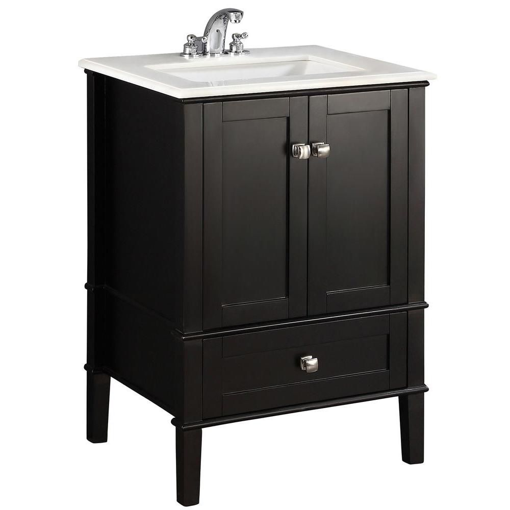 Simpli Home Chelsea 24-inch Vanity in Black with Quartz Marble Top in White and Under-Mounted Rectangular Sink