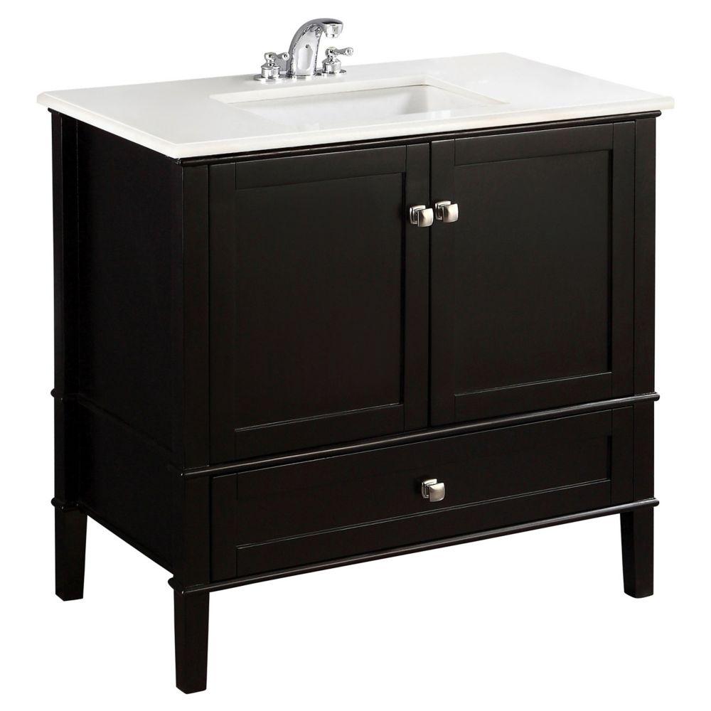 Meuble-lavabo Chelsea de 36 po, noir