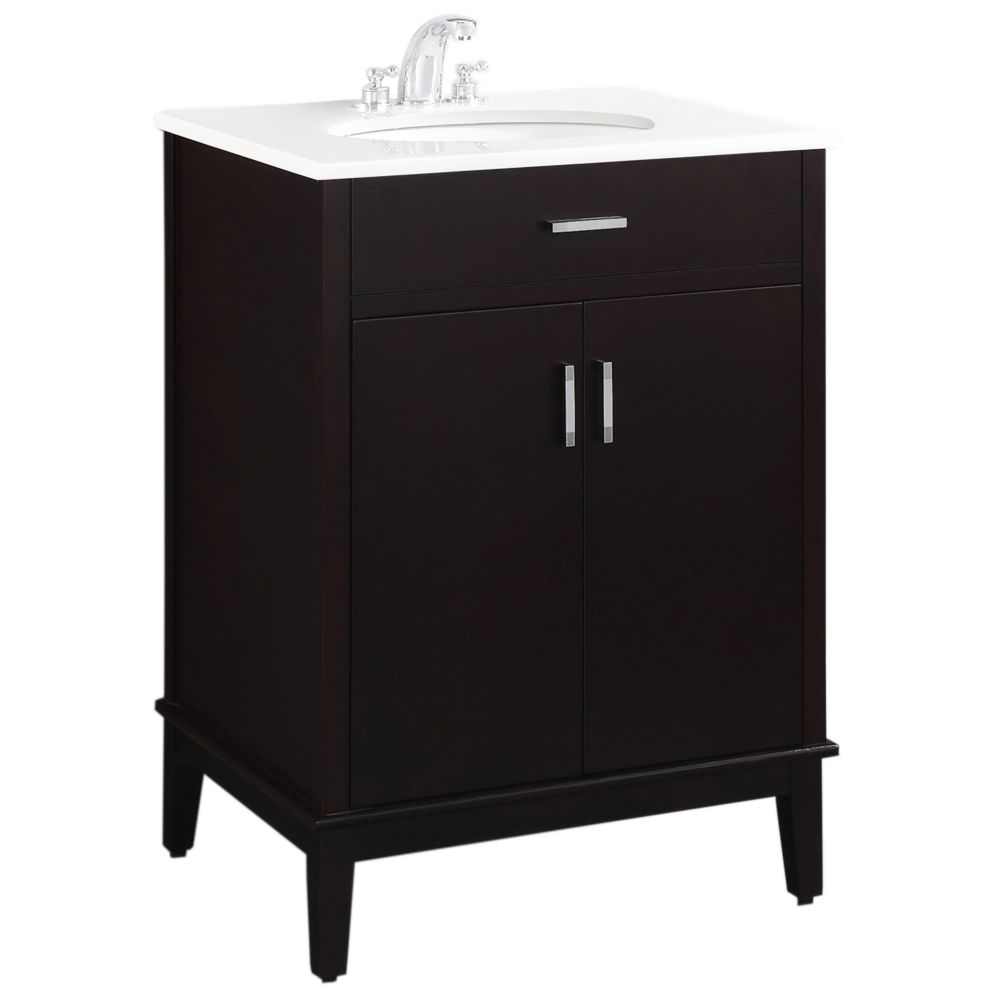 Urban Loft 24-inch W Vanity in Dark Espresso Finish with Quartz Marble Top