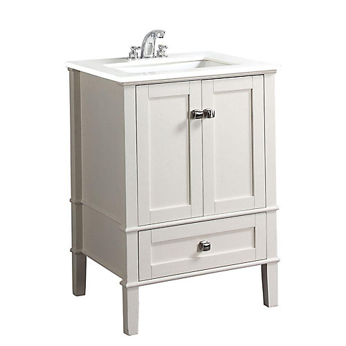 Chelsea 25-inch W 1-Drawer 2-Door Freestanding Vanity in White With Quartz Top in White