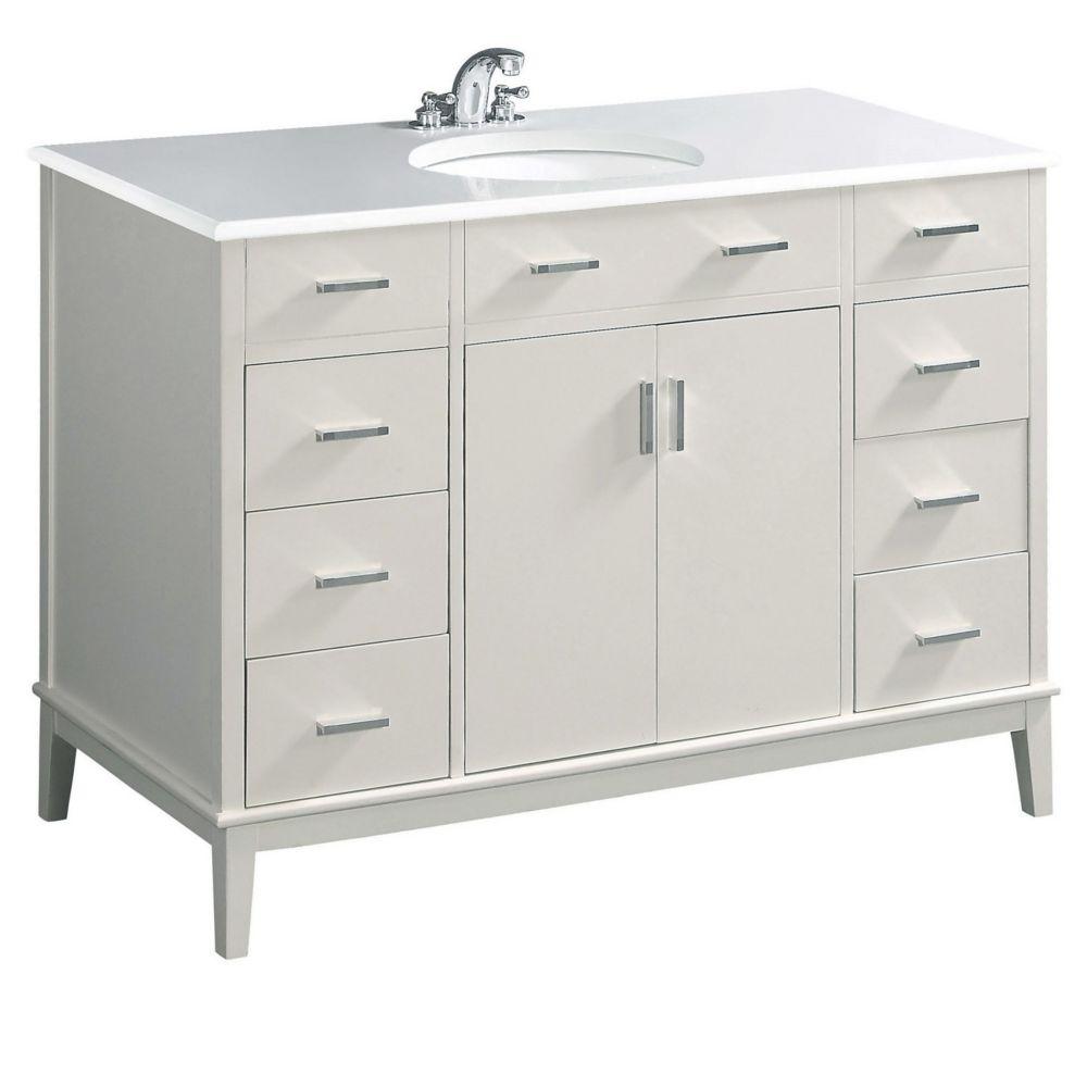 Urban Loft 48-inch W Vanity in White Finish with Quartz Marble Top