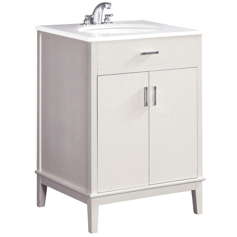 Urban Loft 24-inch W Vanity in White with Quartz Marble Top