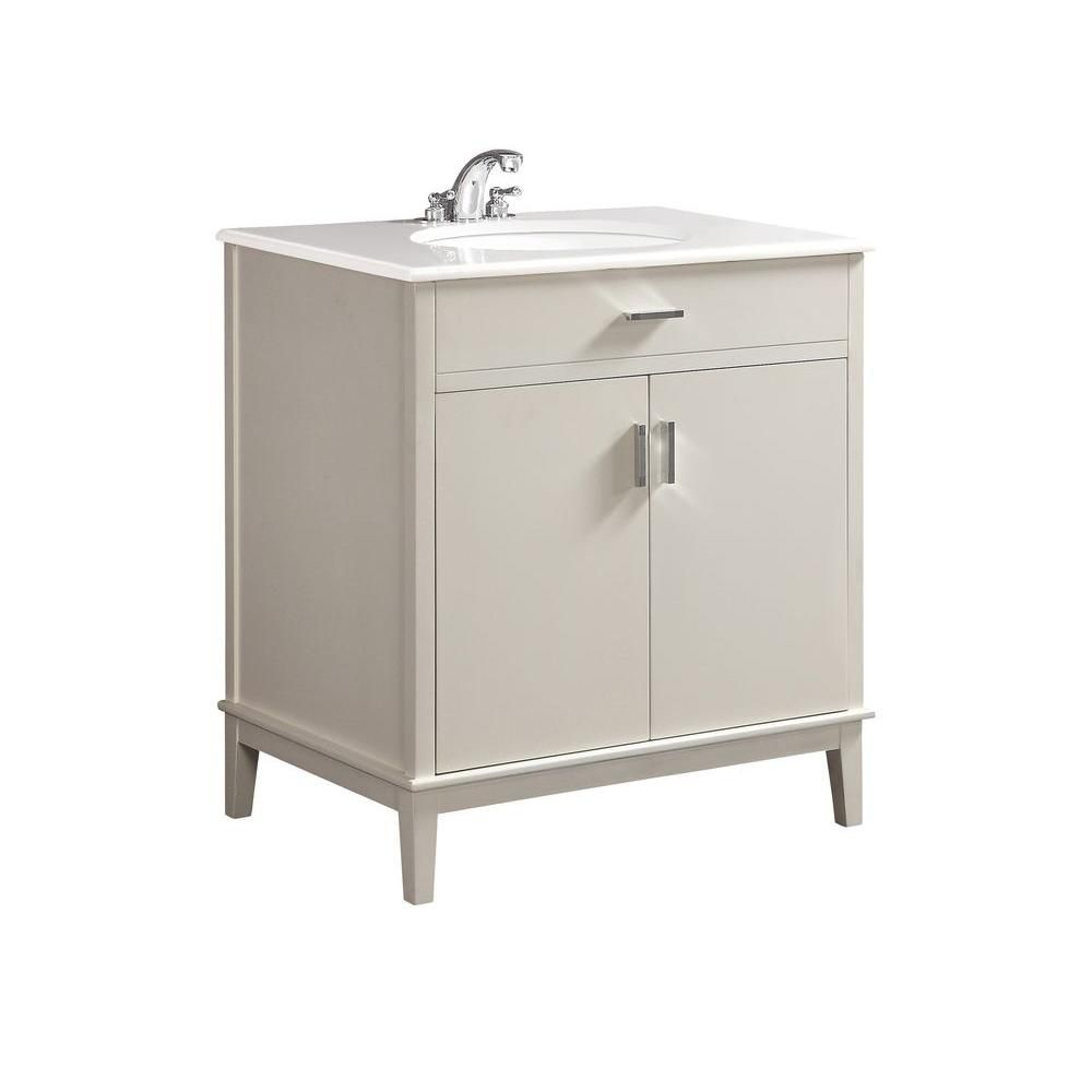 Urban Loft 30-inch W Vanity in White Finish with Quartz Marble Top