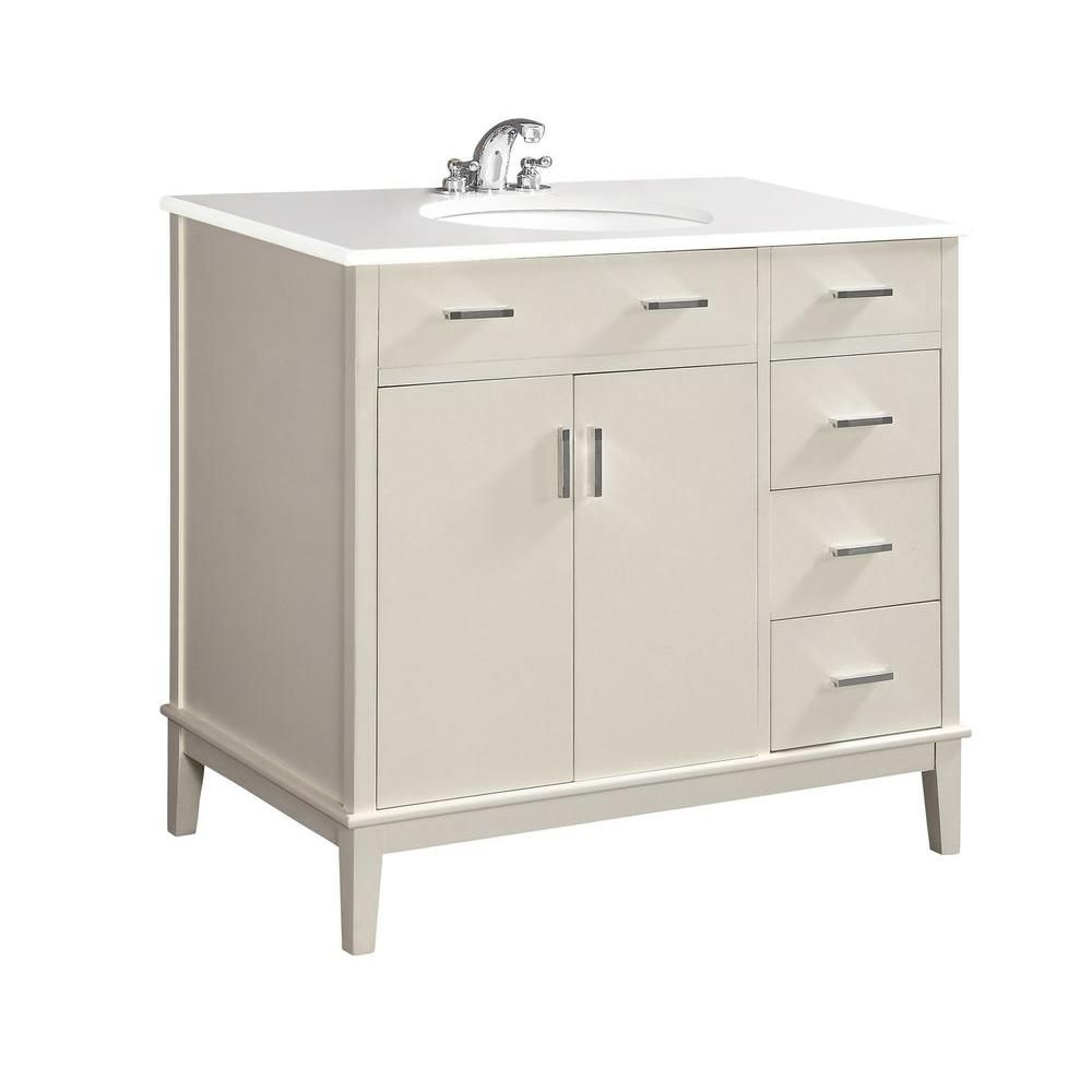 Urban Loft 36-inch W Vanity in White with Quartz Marble Top