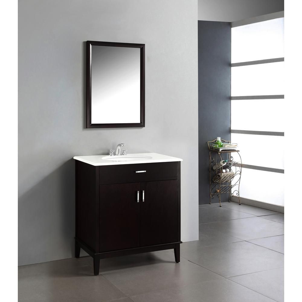 Simpli Home Urban Loft 30-inch Vanity in Espresso Brown with Quartz Marble Top in White & Under-Mount Oval Sink