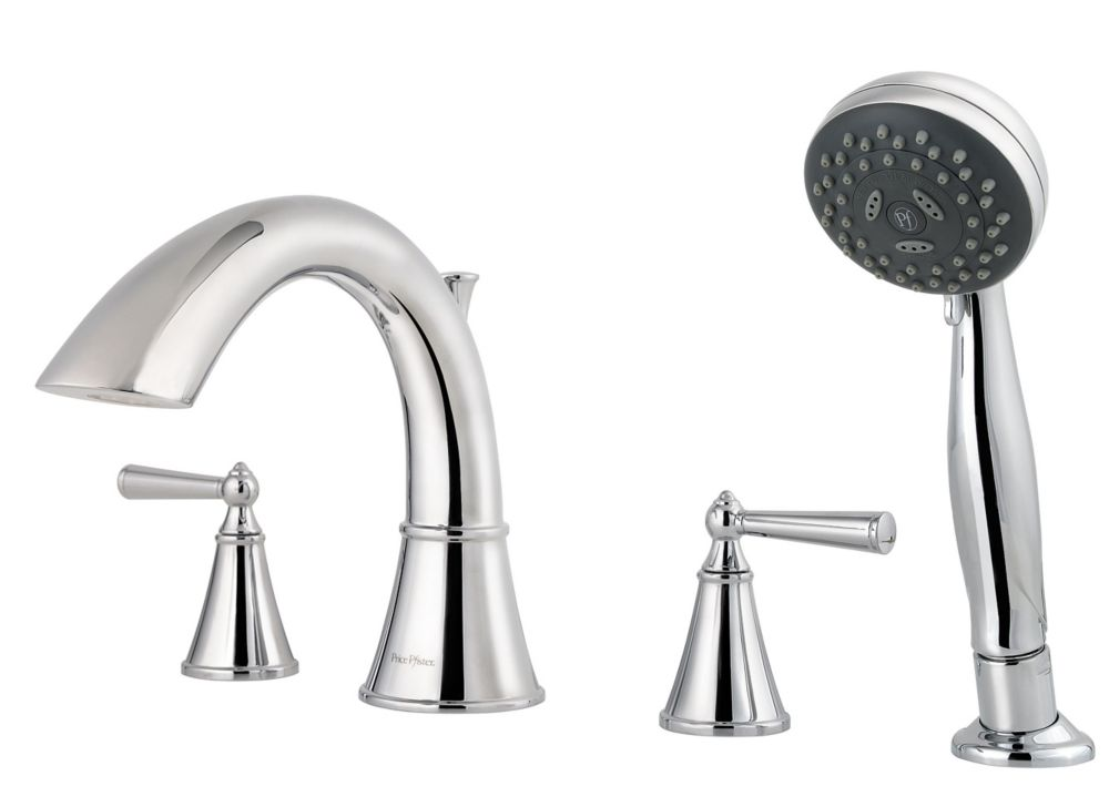Saxton 2-Handle Roman Bath Faucet with Hand Shower in Polished Chrome Finish