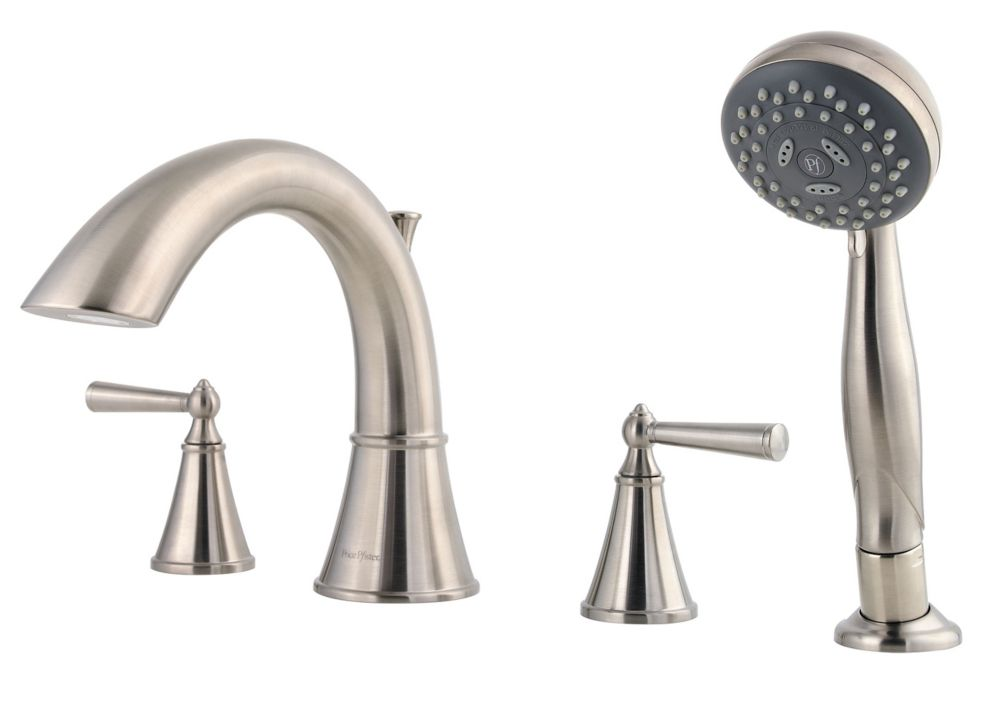 Saxton 2-Handle Roman Bath Faucet with Hand Shower in Brushed Nickel Finish