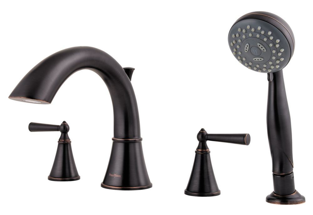 Saxton 2-Handle Roman Bath Faucet with Hand Shower in Tuscan Bronze Finish