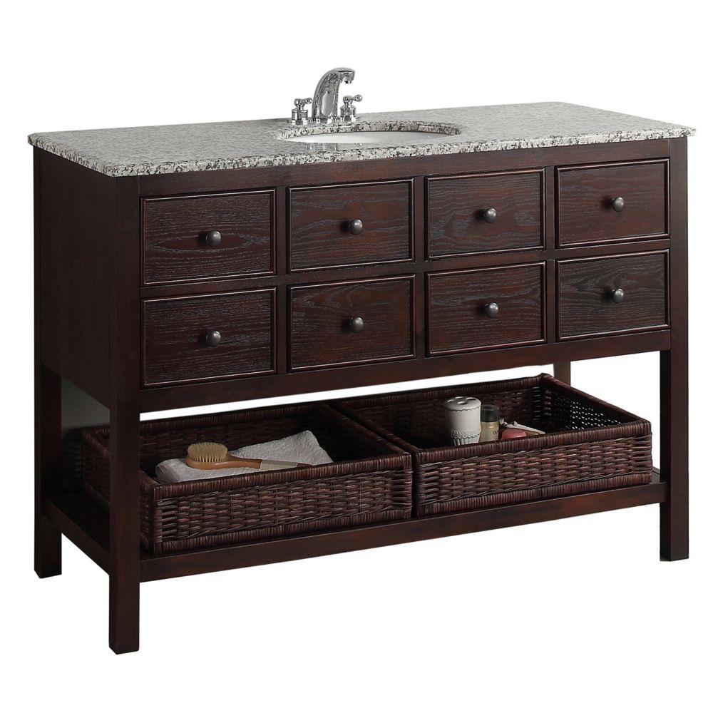 Burnaby 48-inch W Vanity in Walnut Brown with Granite Top in Dappled Grey