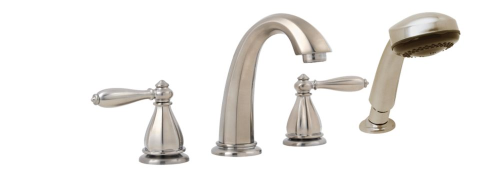 Portola 2-Handle Roman Bath Faucet with Hand Shower in Brushed Nickel Finish