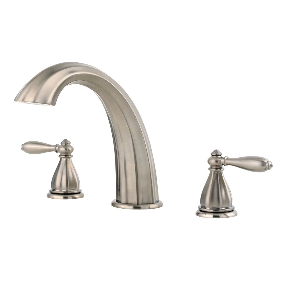 Portola 2-Handle Roman Bath Faucet in Brushed Nickel Finish