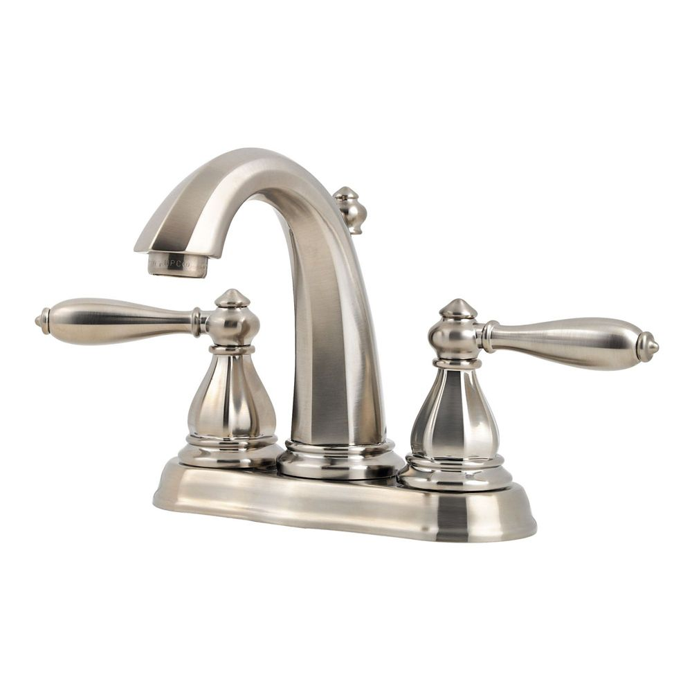 Pfister Portola 4 Inch Centerset 2 Handle High Arc Bathroom Faucet In Brushed Nickel The Home