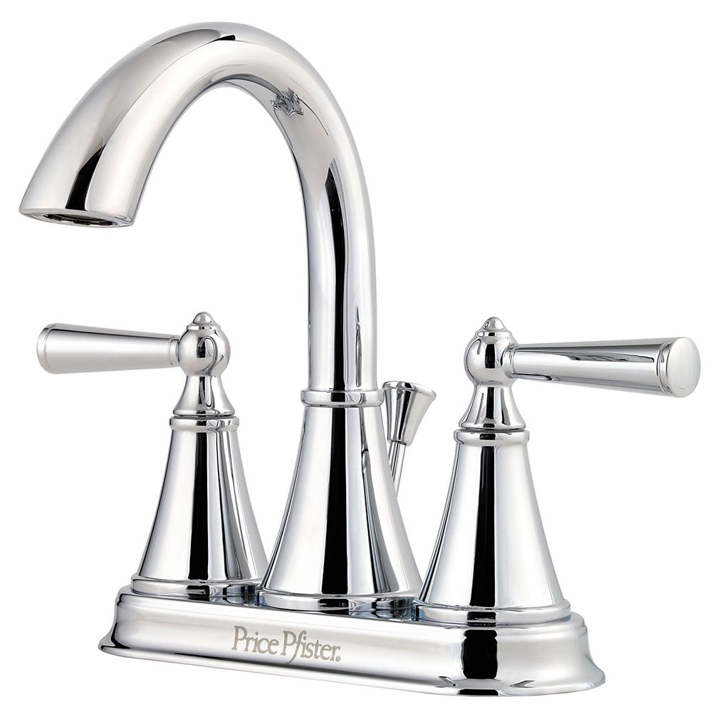 Saxton 4-inch Centreset 2-Handle High-Arc Bathroom Faucet in Polished Chrome Finish