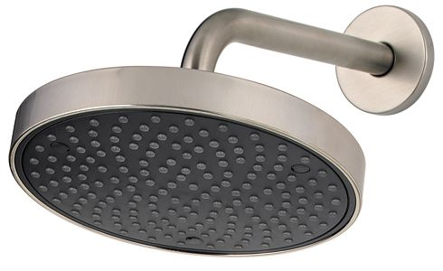 Universal 8-inch Raincan Showerhead with Arm and Flange in Brushed Nickel