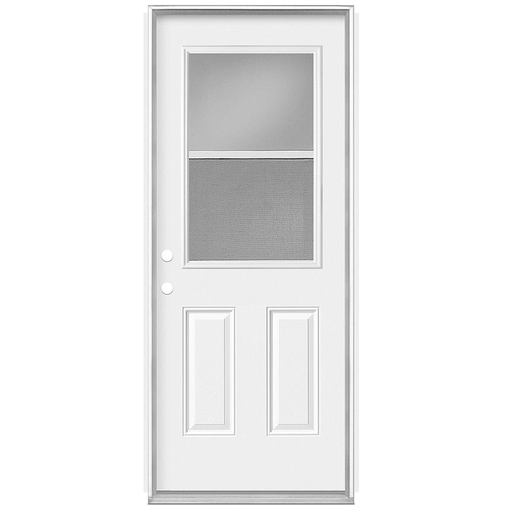 Masonite Porte gauche de 30 pouces x 80 pouces x 7 1/4 pouces avec ventilation 1/2-Lite Low-E - Energy Star