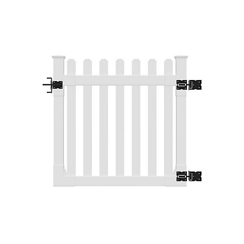 4 ft. x 4 ft. Premium Vinyl Classic Picket Fence Gate with Powder Coated Stainless Steel Hardware