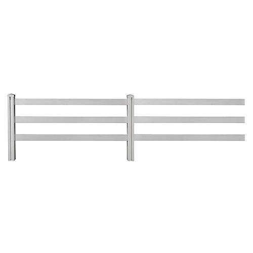 Panneaux (2) de clôture de style Ranch à 3 traverses en vinyle de première qualité 4pi H x 7pi L avec poteaux (2) et capuchons (2)