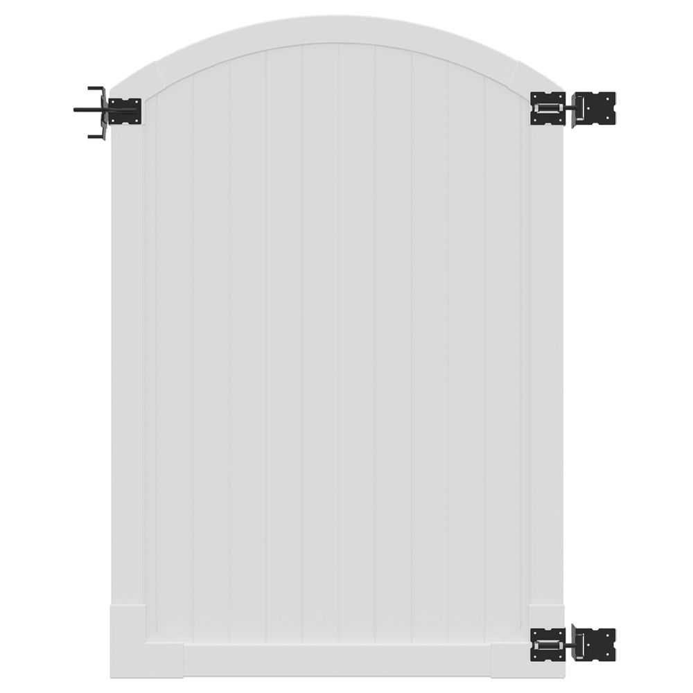 6ft H x 4ft W Premium Vinyl Arched Vinyl Gate w/ Powder Coated Stainless Steel Hardware