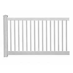 4 ft. H x 7 ft. W Premium Vinyl Yard and Pool Fence Panel with Post and Cap