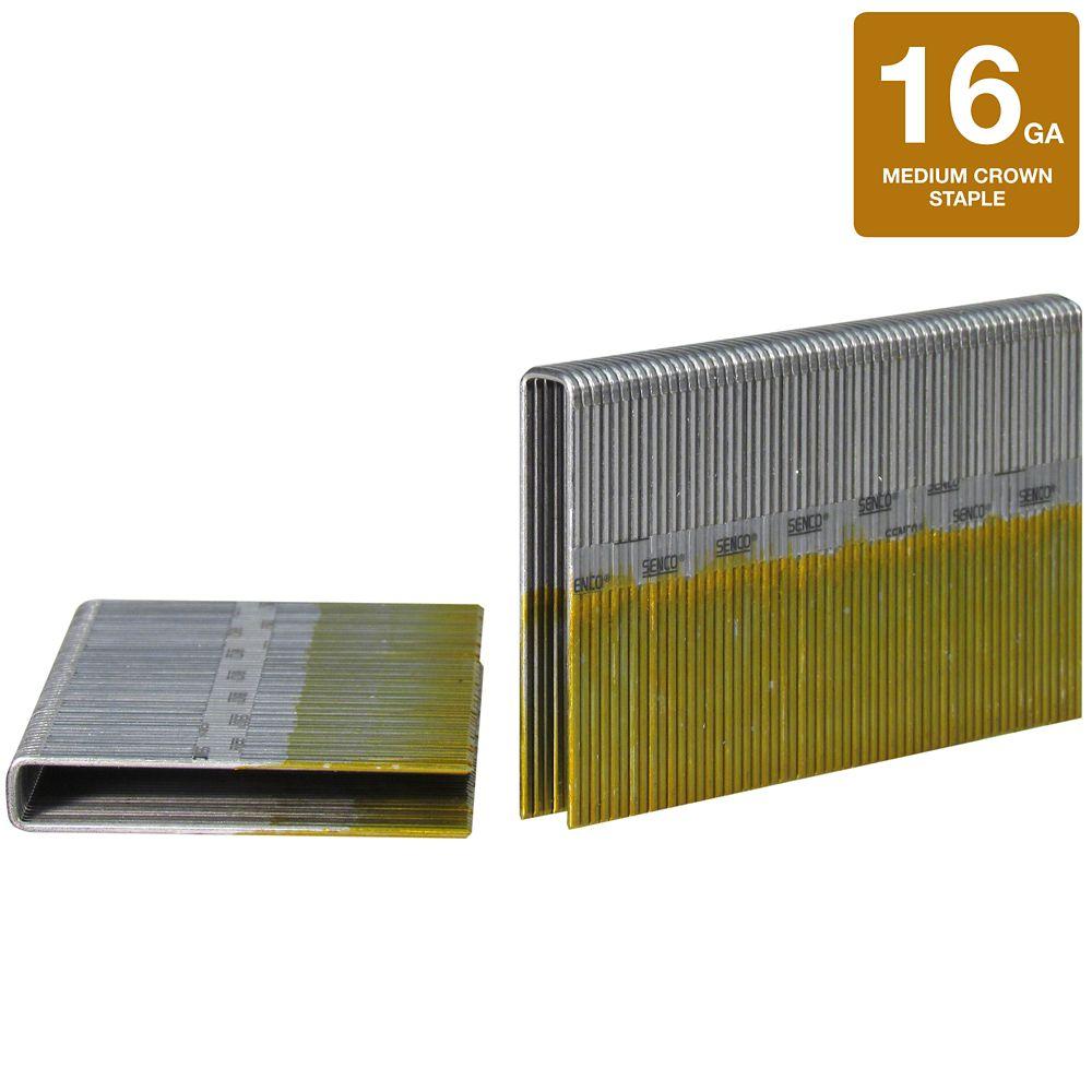 Agrafe couronne large 7/16 po de calibre 16 1-1/2po longuer galvanise 10000 Qte pour SNS200XP. N1...
