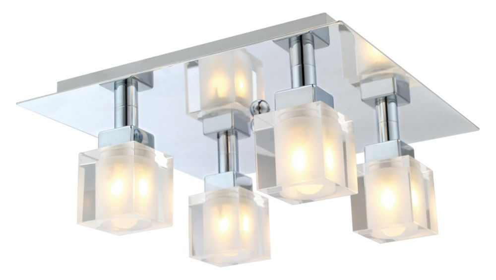 TANGA Ceiling Light 4L, Chrome Finish with Crystal Glass