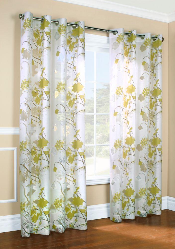 Gardenia, Grommet, Green, 52 X 84