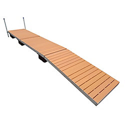 Patriot Docks 24 ft. Low Profile Floating Dock with Brown Aluminum Decking