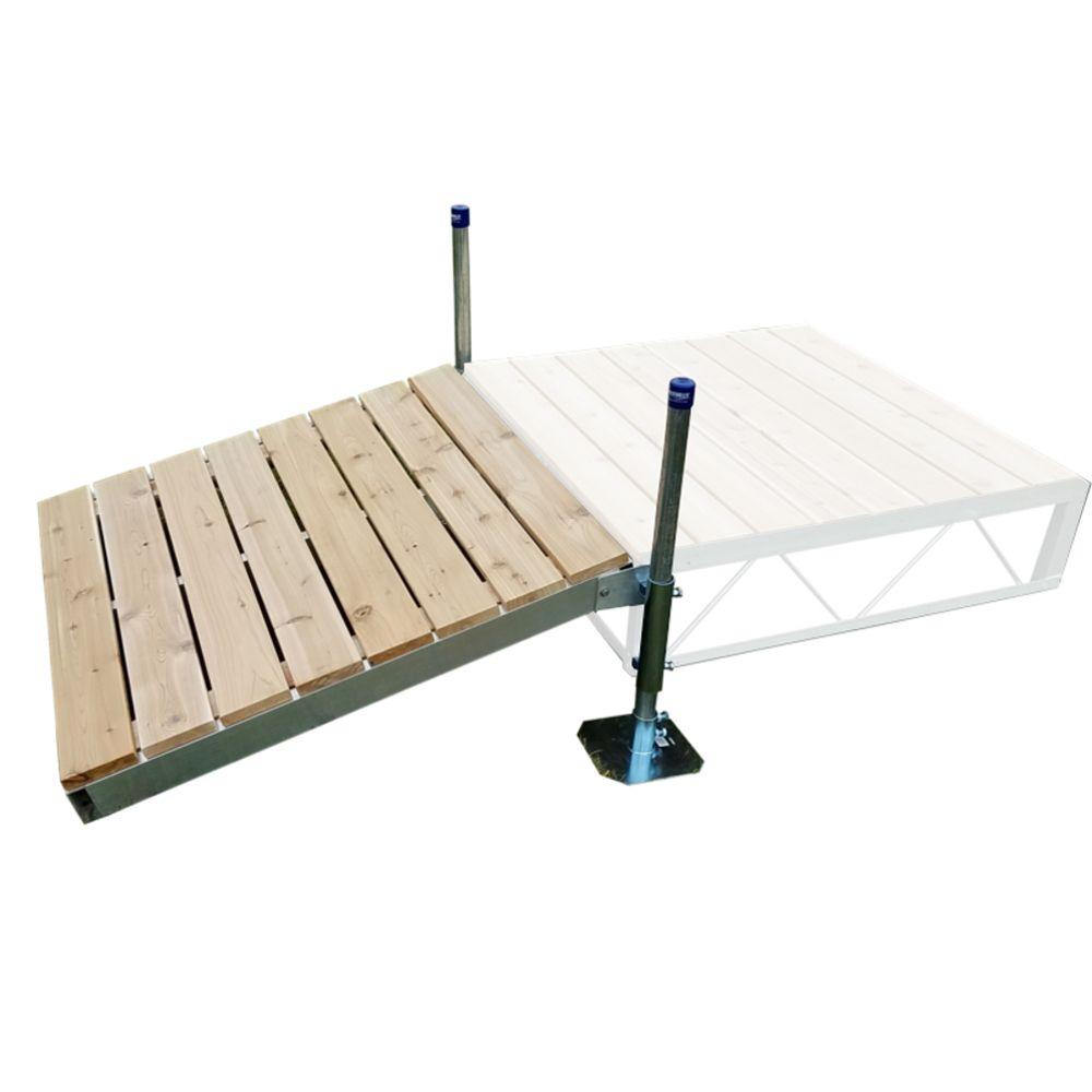 Ensemble de rampe de débarcadère de 4 pi x4 pi avec pontage de cèdre