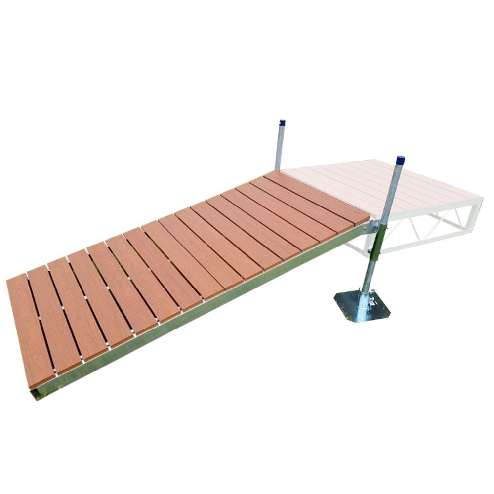 Ensemble de rampe de débarcadère 4 pi x 8 pi avec pontage d'aluminium