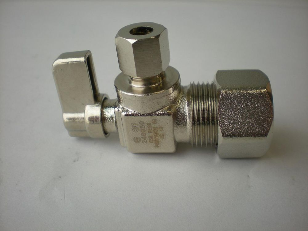 Jag Plumbing Products 1/4-inch OD Comp. x 5/8-inch OD Comp. Angled Mini Valve