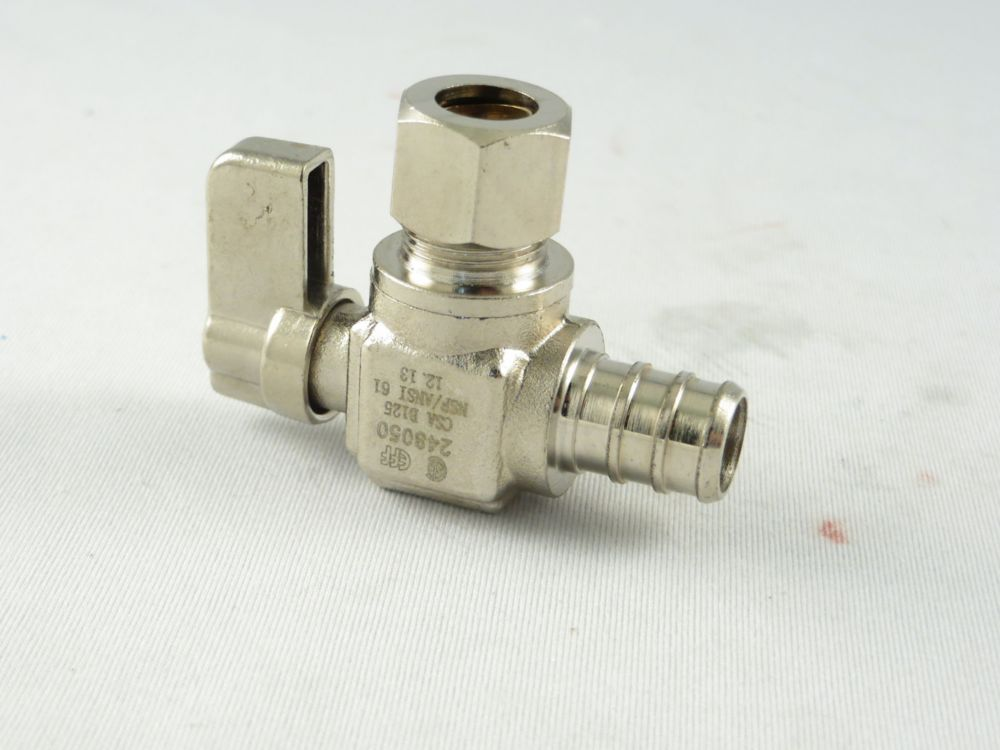 Jag Plumbing Products 1/2-inch PEX x 3/8-inch OD Comp. Angled Mini Valve