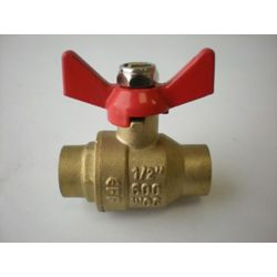 Jag Plumbing Products 1/2-inch CxC Full Port Forged Ball Valve with Butterfly Handle