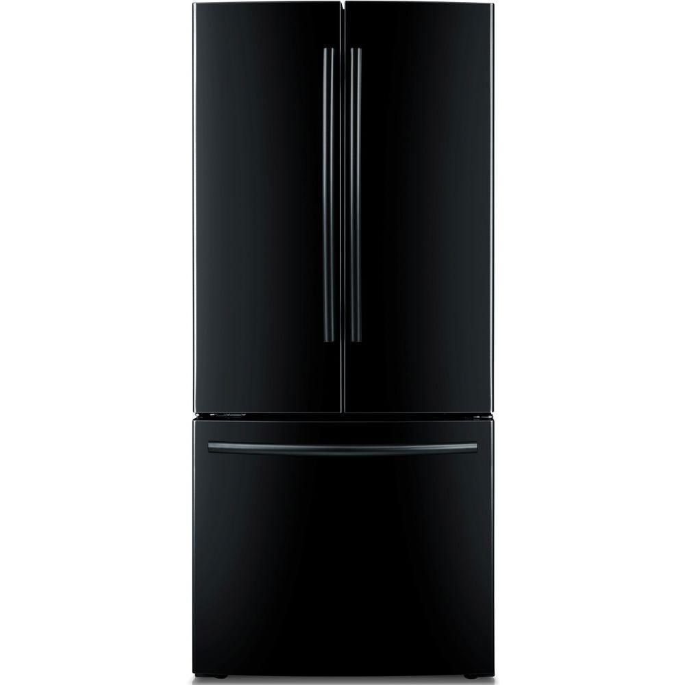 Réfrigérateur à congélateur inférieur et à portes françaises de 21,6pi. cube, noir - RF220NCTABC