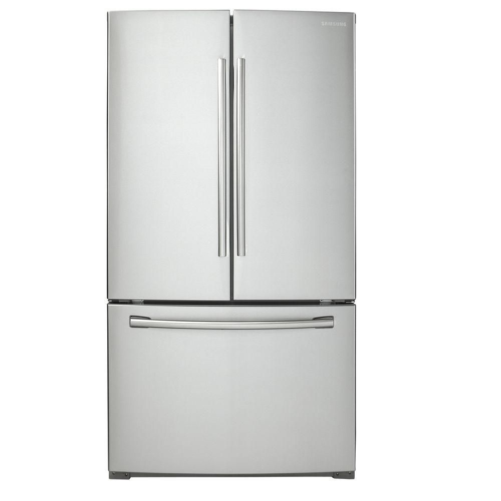Samsung 25 6 cu ft three door french door refrigerator for French doors for sale at home depot