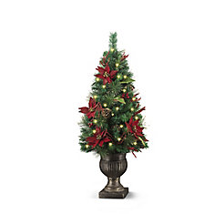 48 -inch 48 LED Red Poinsetta with Berries Porch Tree