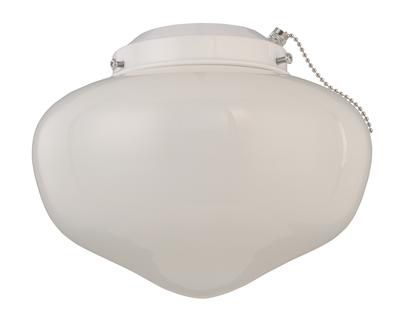 Indoor/Outdoor 4-Inch Fitter Ceiling Fan Light Kit, White w/White Glass Shade