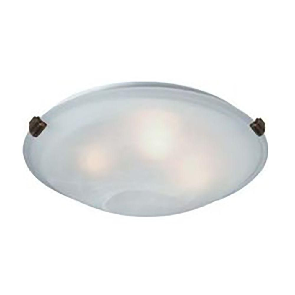 3-Light Ceiling Antique Brass Flush Mount