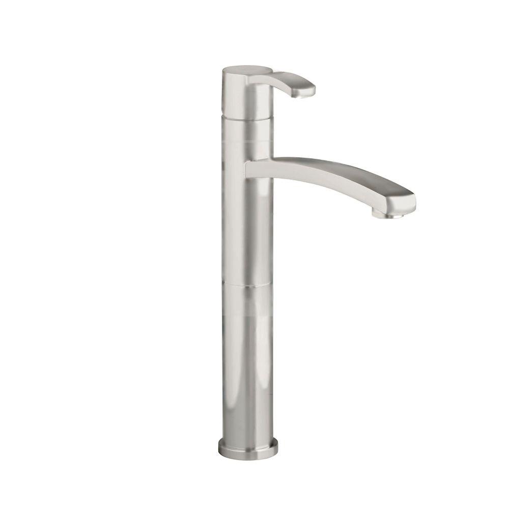 Berwick Single Hole Single-Handle Bathroom Vessel Faucet with Grid Drain in Satin Nickel Finish