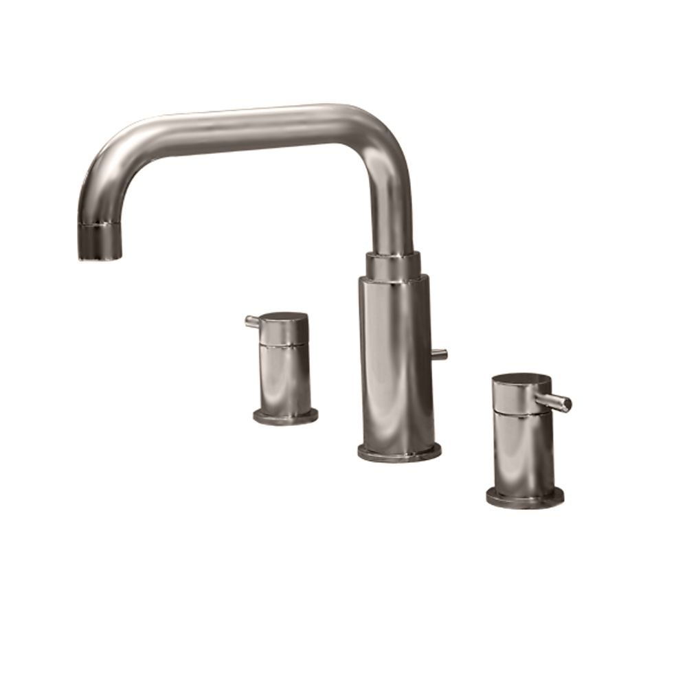 Serin 2-Handle Deck-Mount Roman Bath Faucet in Satin Nickel Finish