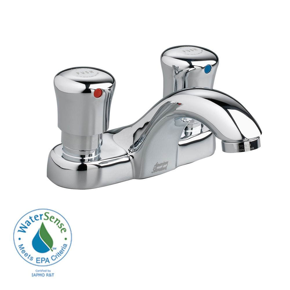 Metering Single Hole 2-Handle Low-Arc Bathroom Faucet in Polished Chrome Finish