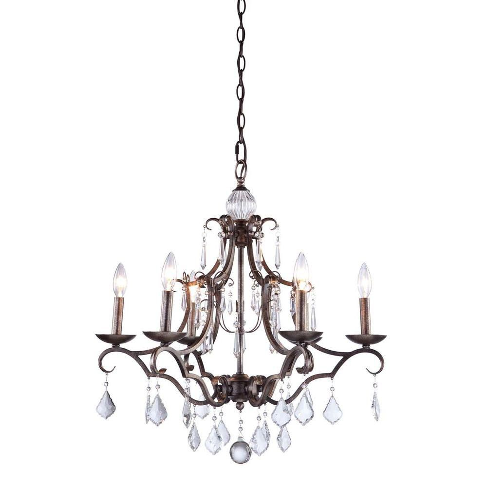 6-Light Ceiling Dark Brown Chandelier