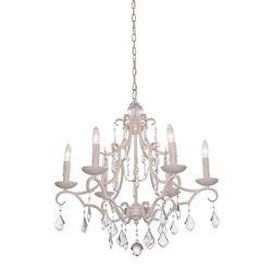 Filament Design 6 Light Ceiling Antique White Incandescent Chandelier