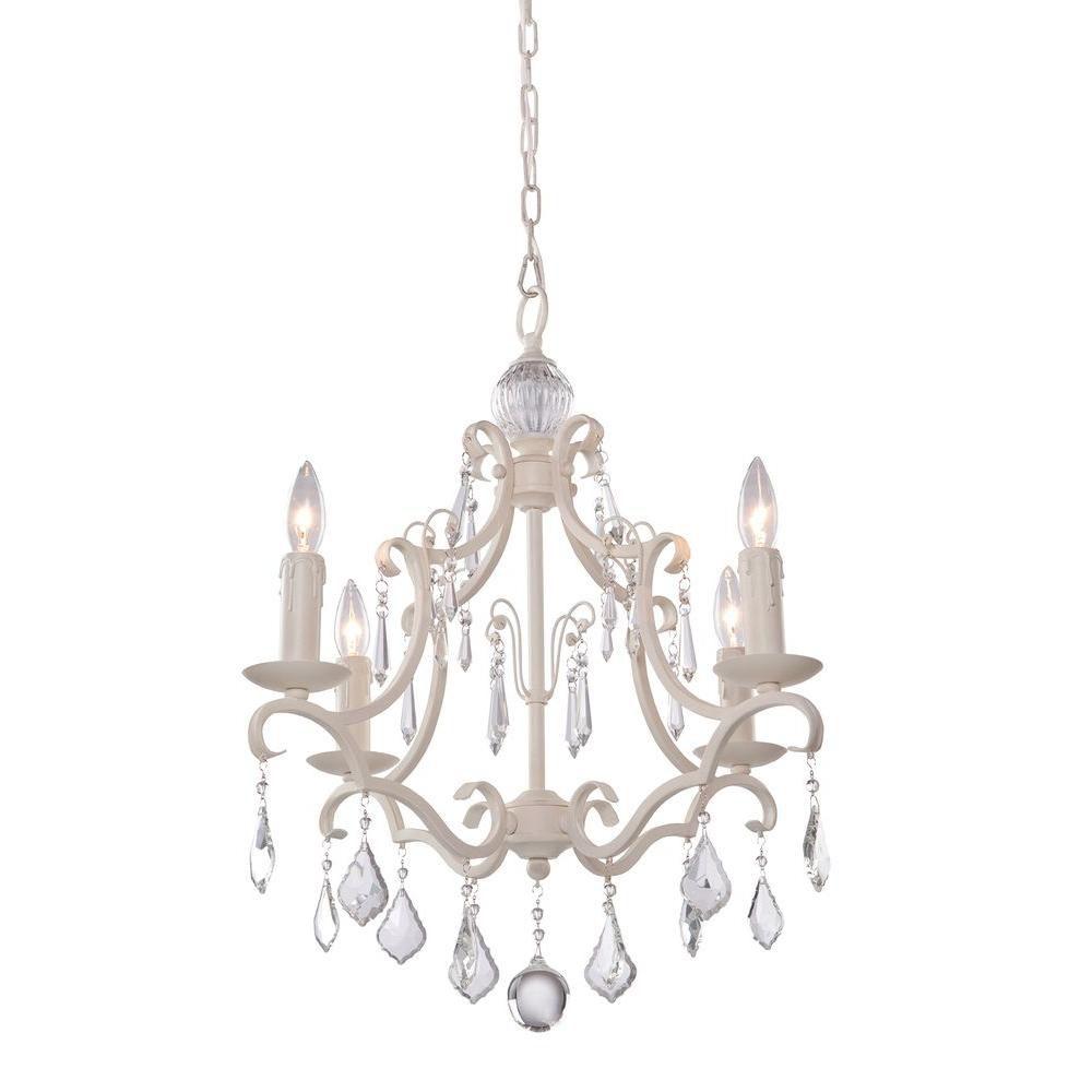 4-Light Ceiling Antique White Chandelier